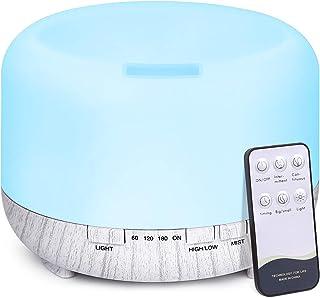 500ml Difusor de Aceite Esencial, TENSWALL Control Remoto Humidificador Ultrasónico con Luces LED Cambiantes de 7 Colores