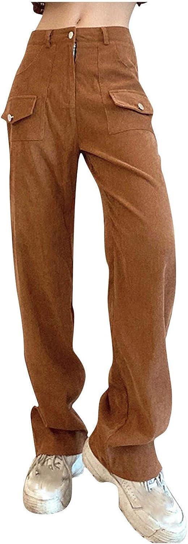 JOFOW Women High Waist Corduroy Solid Pockets Pants Vintage Straight Leg Baggy Trousers Casual Streetwear