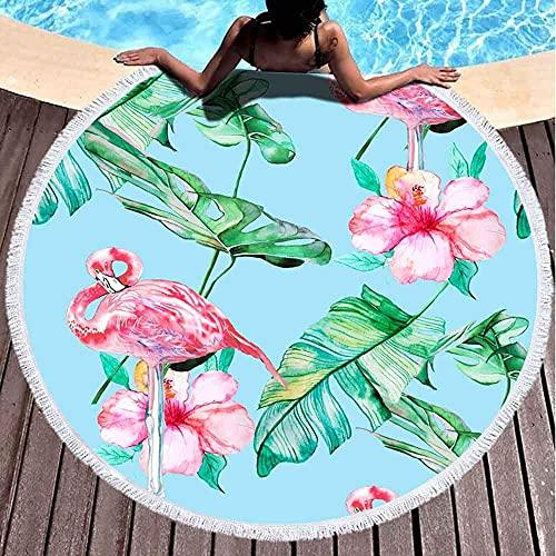 Toalla de Playa Redonda Fondo Plátano Hermoso pájaro Floración Flor Azul Botánico Color Brillante Flamenco exótico Colorido Microfibra De Gran tamaño Grande Secado rápido para Toalla de Piscina