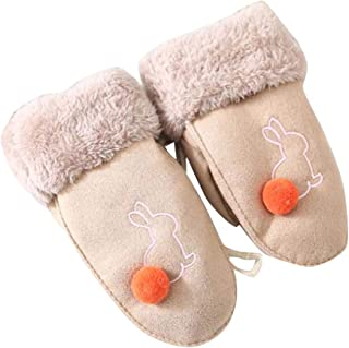 Children Plush-Lined Gloves, Winter Warm Mittens for Kids(3-8 Years Old), F02