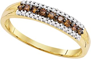 GemApex Brown Diamond Fashion Ring Solid 10k Yellow Gold Band Chocolate Round Single Row Style Fancy 1/5 ctw