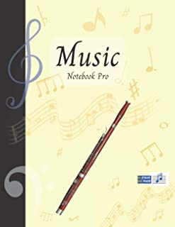 Music Notebook Pro With Instrument - Bassoon | Advanced 10 Staves Interior With Educational Materials: Music Manuscript Pa...