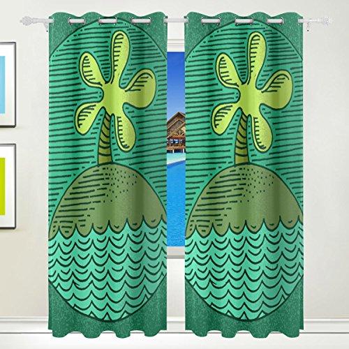 CUMIMI Island Badge Impression Isolation Thermique occultant Vitrage Enrouleur Occultant pour Chambre à Coucher Salon 139,7 cm W X 213,4 cm L, 2 Panneaux