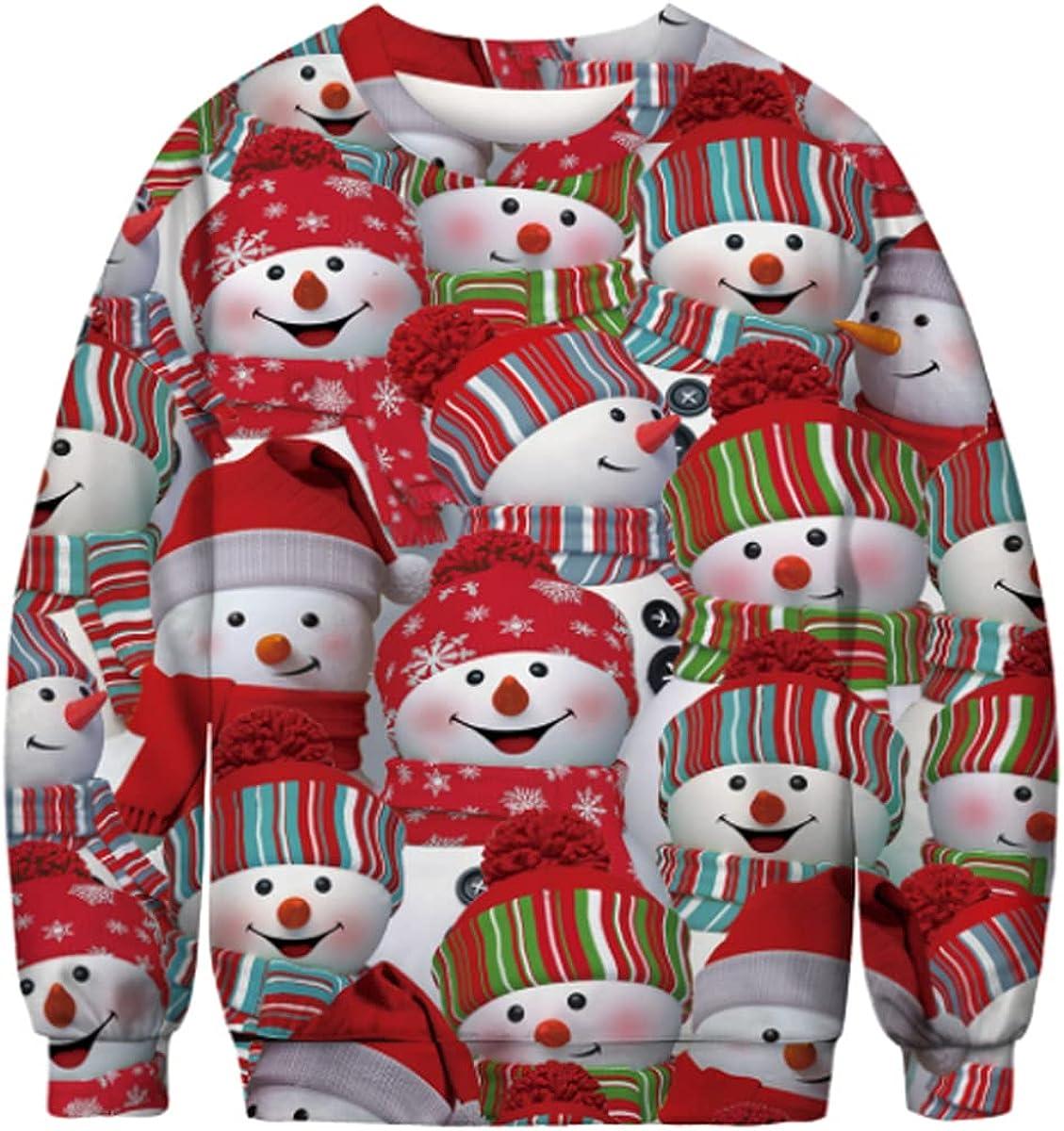 SENDEREAL Unisex 3D Printed Pattern Big Pocket Pullover Sweatshirt Suitable for Christmas and Halloween