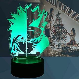 Uzumaki Naruto y Sasuke - Lámpara de dibujo para niños, diseño de animales, cambio de color, 7 lámparas de mesa LED para decoración de habitación de Navidad para adolescentes (Naruto cara)
