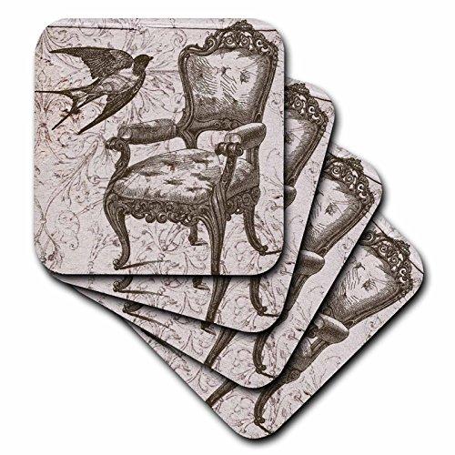 3dRose CST_110259_3 Vintage Stuhl und Vogel Steampunk Art Keramikfliesen-Untersetzer, 4er-Set