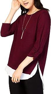 A. Byer womens Cinch Sleeve Top With Chiffon Hangdown Tunic Shirt