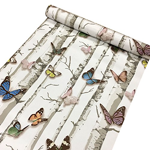 Yifely Colorful Butterfly Contact Paper Decorative Vinyl Self Adhesive Shelf Drawer Liner 17x118 Inch