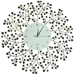 Lulu Decor, 24.50 Spring Blooms Decorative Metal Wall Clock with Golden and Black Metal Frame & White Lines Dial