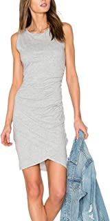 JLCNCUE Women Casual Crew Neck Ruched Short Dress Stretchy Bodycon T Shirt Mini Dress 71805