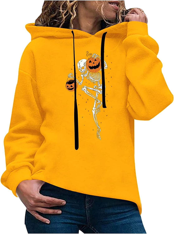 Toeava Women's Halloween Hoodies Sweatshirts Casual Long Sleeve Funny Skeleton Graphic Sweatshirt Pullover Tunic Tops