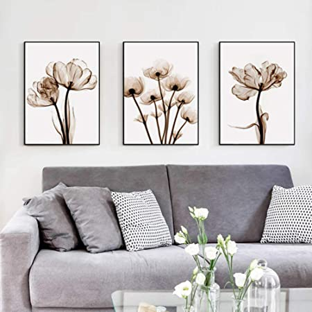 XIXISA Flor Lienzo Pintura Moderna Negro Blanco Arte Cuadros para decoraci/ón del hogar Sala de Estar Abstracto Cartel de la Pared 50x70 cm sin Marco