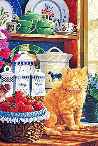 Qilo Rompecabezas de Gatos Se admiten Colección Rompecabezas - Rompecabezas Grande 300/500/1000 Piezas Cat Jigsaw - Gato soñoliento Padres e Hijos Juguete único del hogar del Regal