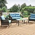 Okeysen Patio Outdoor Furniture Sets, 4 Pcs with Loveseat, All-Weather Checkered Wicker Rattan Conversation Sofa Set, Glass Coffee Table with Removable Cushion.(Grey)