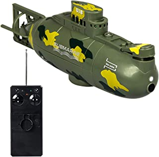 BingYELH RC Toy Remote Boat Ship,6CH Speed Radio Remote Control Electric Mini Submarine Boat Electric Toy Waterproof Diving (Green)