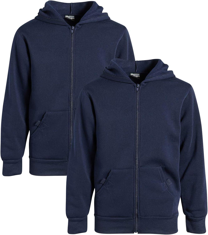 Quad Seven Boys' Fleece Full Zip Hooded Sweatshirt (2 Pack)