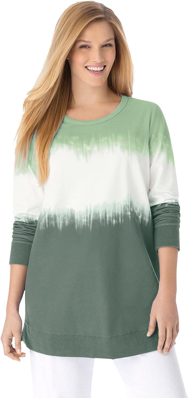 Woman Within Women's Plus Size Tie-Dyed Knit Sweatshirt Tunic