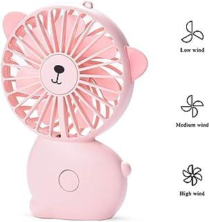 EKOHOME Mini Ventilador USB Silencio 3.2W Portátil Ventilador de Mesa Enfriamiento 3 Velocidades con 7 Colores Luz LED Lindo Gato Ventilador para Niños Chicas Casa Oficina Colegio (Rosado)