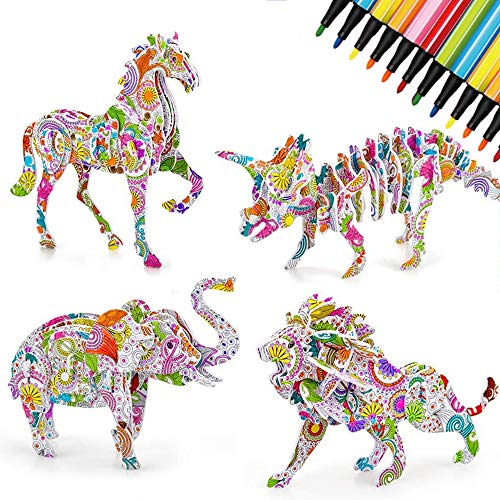 OZOY 3D Puzzles Sets, 4 Pack Colour Animals Cardboard Puzzles Creative DIY Arts and Crafts Jigsaw Toy with 12 Felt Tip Markers, Gifts for Kids
