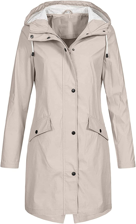 Windbreaker for Women's Long Hooded Rain Jacket Fashion Solid Color Coat Jacket Tunic Tops Outdoor Windproof