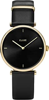 CLUSE Triomphe Gold Black Black CL61006 Women's Watch 29mm Square Dial Leather Strap Minimalistic Design Casual Dress Japanese Quartz Elegant Timepiece