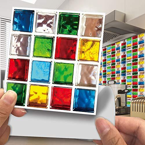 Hiseng Rectángulo Adhesivos Decorativos Azulejos Pegatinas para Baldosas del Baño, Mármol Mosaico Estilo Cocina Resistente al Agua Pegatina de Pared, 10x10cm (Color,30Piezas)