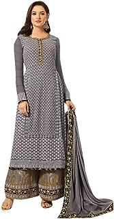 Grey Hand Work Ethnic Women Georgette Palazzo Salwar Kameez Semi Stitched Swarosvki Dupatta Formal Suit 19