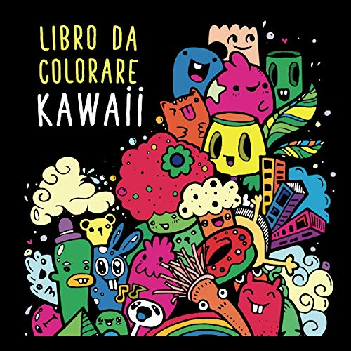 Libro da colorare kawaii: Libro da colorare tipo mandala anti stress. Con simpatici personaggi. Temi: viaggi, animali, mostri ... Sfondo nero per ... Per adulti, adolescenti e bambini dai 9 anni.