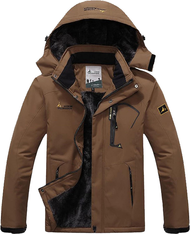 New Windbreak Jacket for Men Waterproof Hooded Patchwork Raincoat Warm Snowboarding Skiing Hiking Jacket
