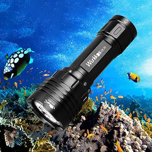 Wurkkos DL30 Antorcha de buceo. Antorcha de buceo de 3600 Lumen. Resistencia al agua IPX8. Incluye 3 * Samsung LH351D LED Blanco Neutro (5000K 90 CRI) Linterna de buceo con batería 1* 21700 y cargador