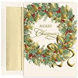 Masterpiece Studios Holiday Collection 16-Count Boxed Embossed Christmas Cards with Foil-Lined Envelopes, 7.8' x 5.6', Traditional Wreath