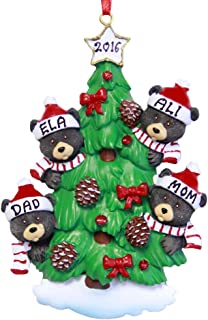 Personalized Family of 4 Bear on Tree Christmas Ornament 2019