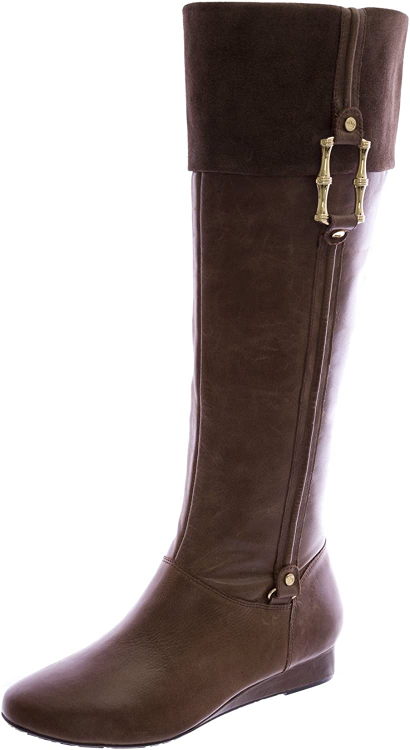 Elaine Turner Ryann Leather Low Heel Wedge Boots Taupe