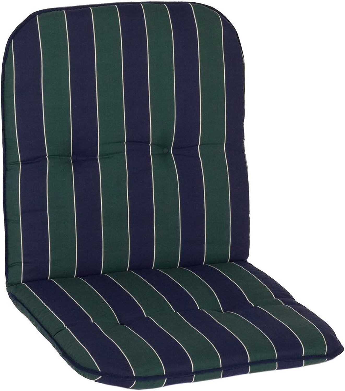 Nxtbuy Gartenstuhl-Auflage Capri 96x47 cm Grün Blau Stripes 6er Set - Niedriglehnerauflage für Gartenstühle - Stuhlauflage mit Komfortschaumkern - Made in EU   koTex100