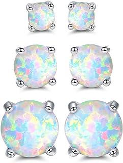 Barzel 18K White Gold Plated Created Opal Stud Earrings 3 Pack Set