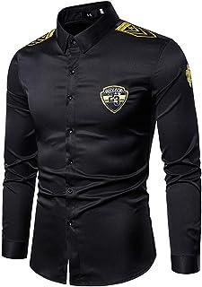 Camisas de los Hombres del Estilista Night Club Bar Restaurante Primavera Largo Inglés Bordadas Manga Uniforme Camisa Camisa del Trabajo