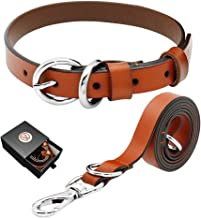 PET ARTIST Luxury Genuine Leather Dog Collar and Leash Set Extra Soft for Puppy Small Medium Large Breed Dogs Brown