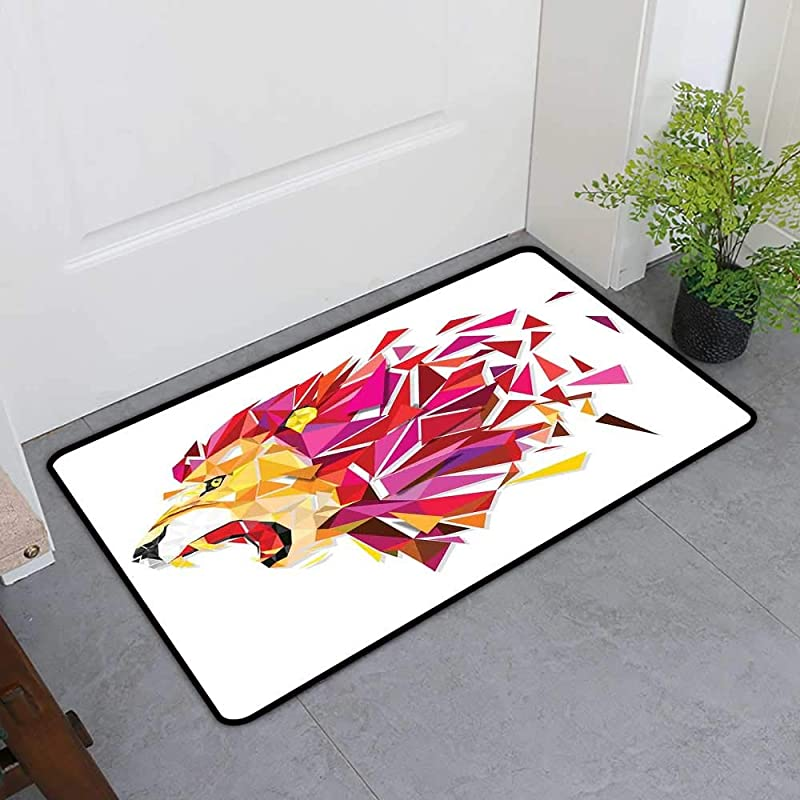 TableCovers Home Door Mat Extra Large Geometric Decor Indoor Doormats For Office Polygon Art Stylized Lion King Figure With In Gradient Tones Modern Art Print QueenFull H16 X W24