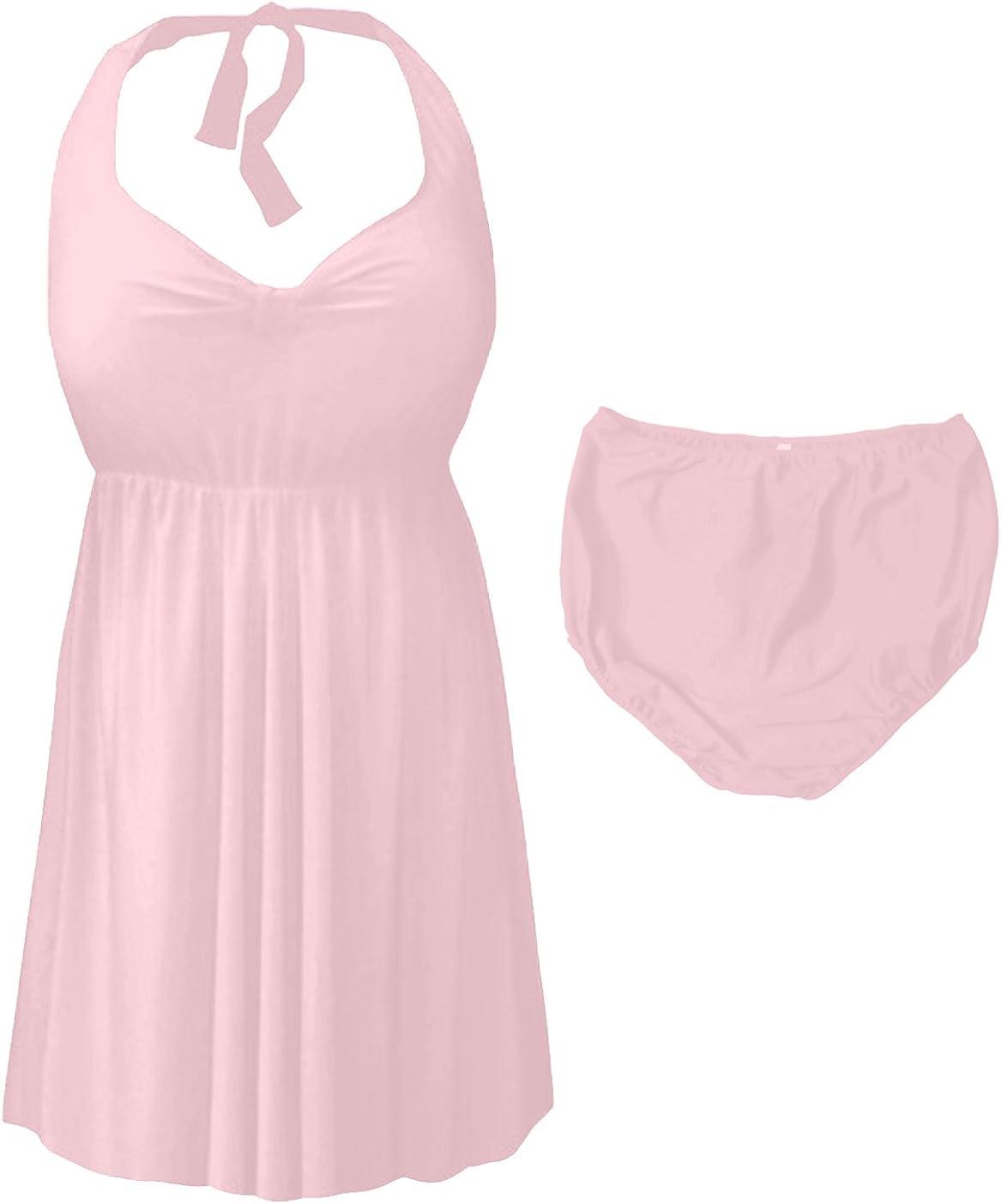 Sanctuarie Designs Light Pink 2 Piece Halter Style Plus Size Swimdress