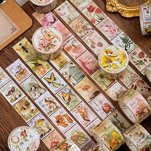 4 rolls vintage stamps scrapbooking stickers plants flowers birds for scrapbook calendar notebook diary photo album DIY decoration, 2.5cm x 5m (B Style)…