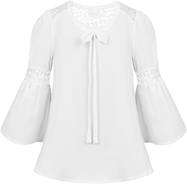 TiaoBug Blusa de Gasa Manga Larga para Niñas Chicas Camisa Encaje Blanca con Mangas de Bell Blusa Otoño Chicas