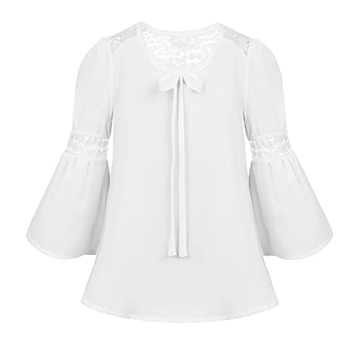 24325a4e5d878 Agoky Kids Girls 3 4 Bell Sleeves Lace Splice Top Blouse Daily Wear for  Spring
