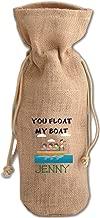 Personalized Custom You Float My Boat Jute Burlap Burlap Wine Drawstring Bag