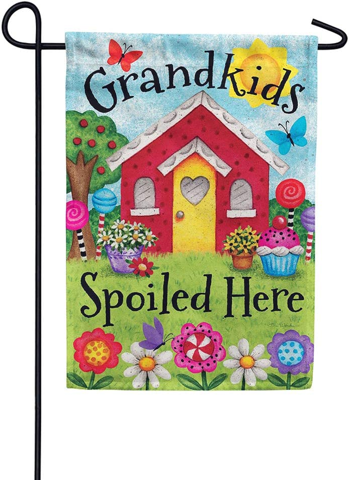 Custom Decor Grandkids Spoiled Here - Garden Size, Decorative Double Sided, Licensed and Copyrighted Flag - Printed in The USA Inc. - 12 Inch X 18 Inch Approx. Size