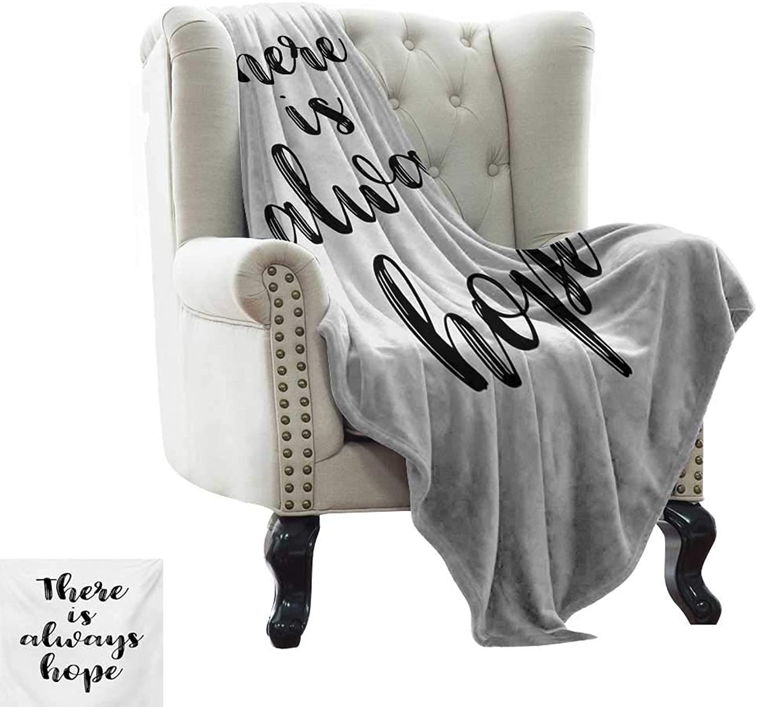 Weighted Blanket for Kids Hope,There is Always Hope Hand Lettering Style Illustration Inspirational Vintage,Black and White Microfiber All Season Blanket for Bed or Couch Multicolor 60 x62