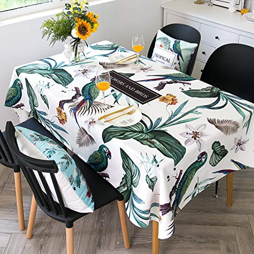 WSJIABIN Home Decoration Plant Parrot Fabric Tablecloth Waterproof and Oil-Proof Disposable Washable Anti-Scald Tablecloth Rectangular Tablecloth