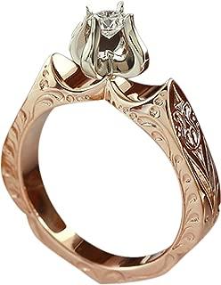 FEDULK Womens Trend Retro Ring Pentagram Zircon Comfort Fit Gifts Ladies Elegant Engagement Jewelry