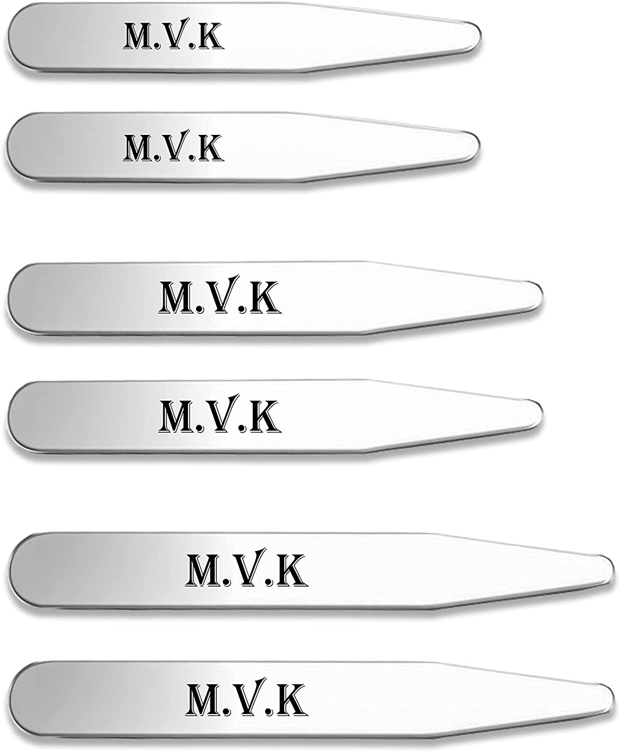 Jovivi Free Engraving- Personalized 6pcs Stainless Steel Collar Stays for Mens Dress Shirt,3 Sizes Set (2.2