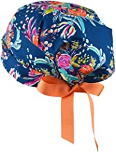 Womens Surgical Scrub Hat Adjustable Medium to Large with Ribbon Ties (Zinnias)
