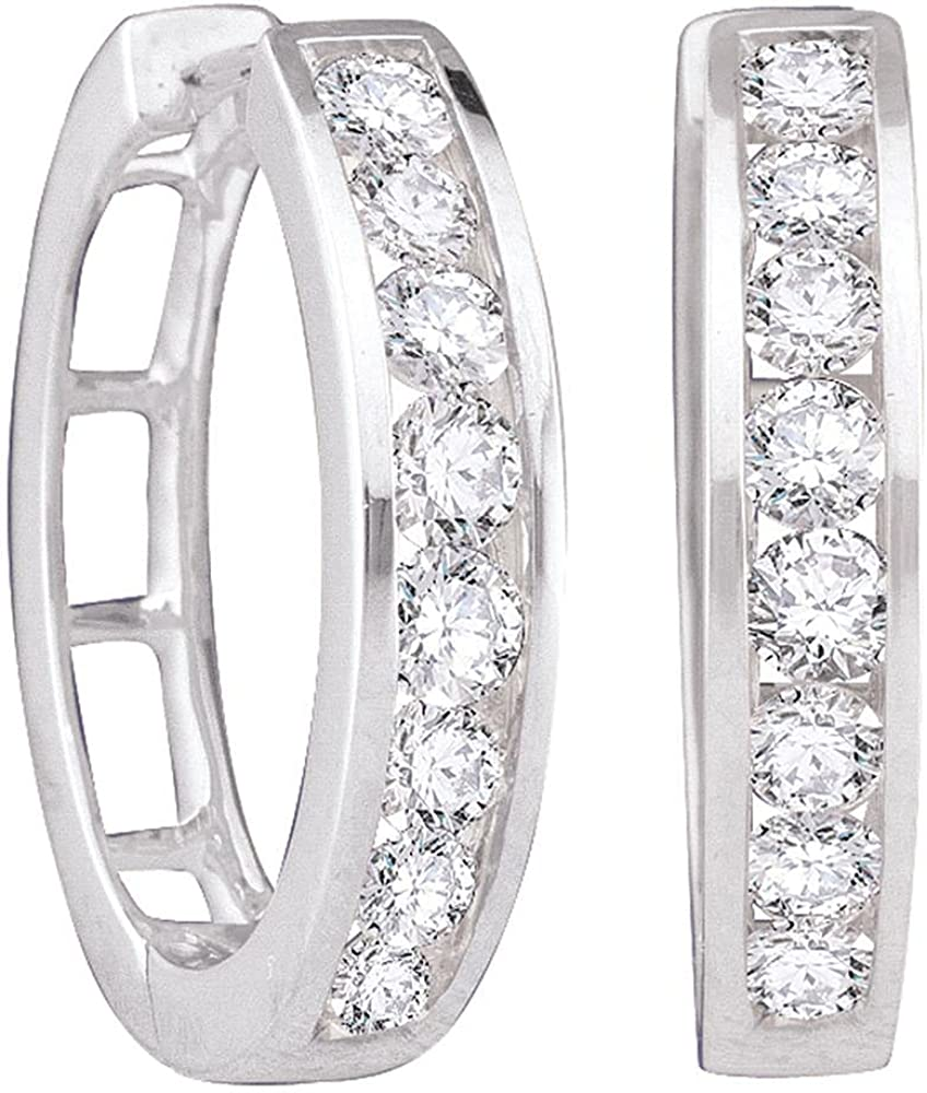 shop 14kt White Gold Womens Round Cttw Earrings Diamond 1 At the price of surprise Hoop